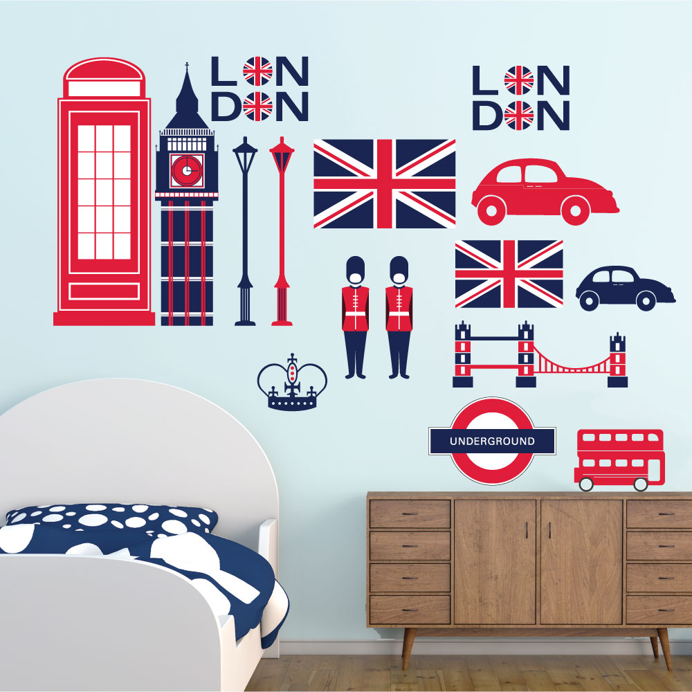 f1fd14b1104 Αυτοκόλλητα τοίχου για παιδικό δωμάτιο -LONDON 13638 - Wall & Design